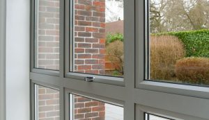Grey aluminium window close up