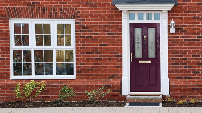 Purple composite entrance door