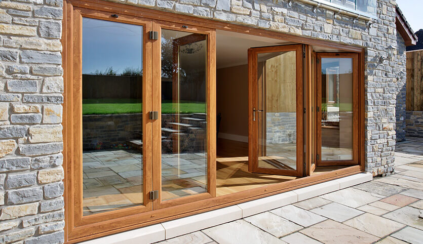 Oak effect uPVC bifold door