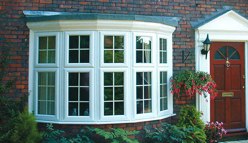 Large white uPVC bay window