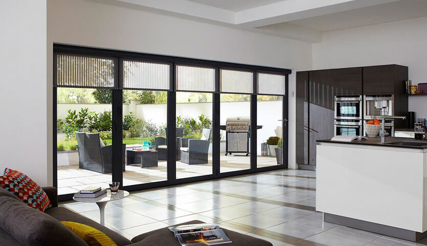 Black aluminium bifold door interior