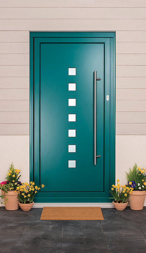 Blue aluminium entrance door