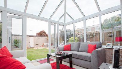 White uPVC Edwardian conservatory interior