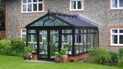 Black gable conservatory installation