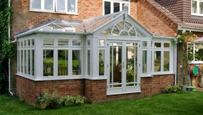 Grey T-Shaped conservatory