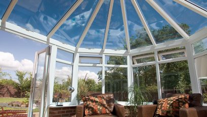 White Victorian conservatory interior view