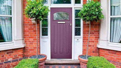 Berry coloured composite door.