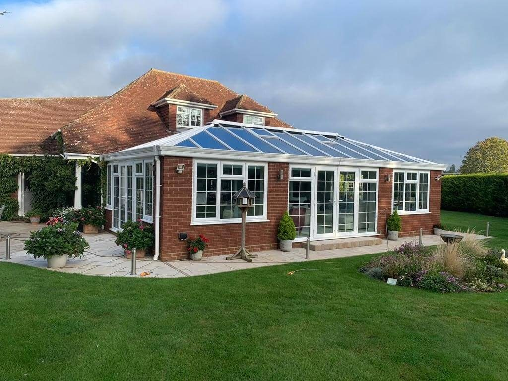 Outside view of a Victorian conservatory glass roof