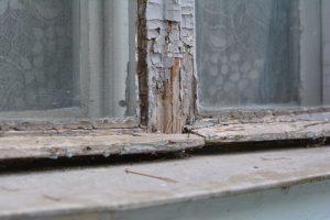 Old rotten wooden windows.